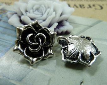 20pcs 19mm Antique Silver Rose Charm Pendant AB287