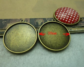 10pcs Antique Bronze 30mm Double-face Round  Bezel Cup Cabochon Mountings AC6140