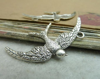30pcs 23x45mm Antique Silver Bird Charms Pendants Jewelry Findings AC7176