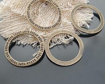 50pcs 20mm Antique Bronze Circle Charms Connectors Pendants Jewelry Findings H20396