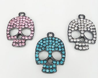 5 pcs   gun metal Rhinestone  Skull Charms   Skull  Pendants
