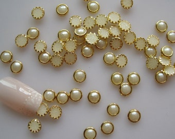 100pcs Cute 5mm Pearl with Gold Outside Decoration Nail Art decoration OD-96