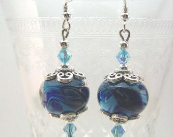 Lampwork Glass Earrings, Swarovski Crystals, Sterling Silver earrings, dangling earrings, Blue earrings,