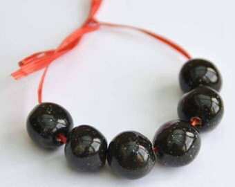 Handmade Ceramic Beads Round in Black with Tiny White Speckles