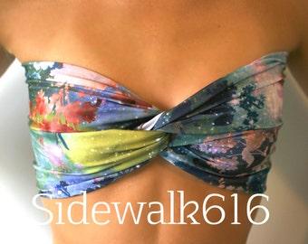 Floral Galaxy Bandeau Top Spandex Bandeau Bikini Top