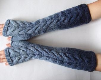 Handmade blue (  multicolor ) LONG fingerless gloves, fingerless mittens, wrist warmers. Knitted of pure wool.