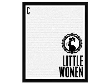 Little Women Louisa May Alcott - Book Art Print - Poster for Book Lovers - Literature Poster - Book Gift - Library Art - Wall Art Decor