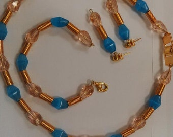 Nigerian African Traditional Wedding Party Pink, Blue & Gold Statement Jewellery set