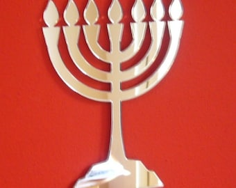 Menorah (Hanukkah) Shaped Mirror - 5 Sizes  Available