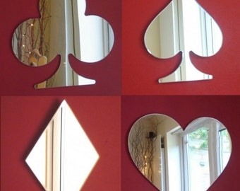 Set of 4 Playing Card Suits Mirrors - Heart, Club, Diamond and Spade - 2 Sizes Available