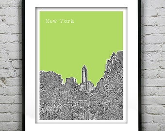 New York City Central Park Skyline Art Print Poster NYC Central Park Manhattan Version 2