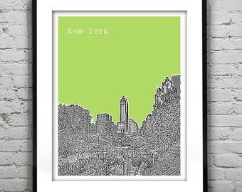 New York City Central Park Skyline Art Print Poster NYC NY Central Park Manhattan Version 2