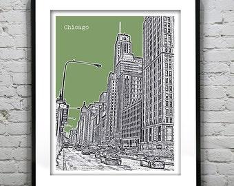 Chicago Skyline Poster Art Print Illinois IL The Magnificent Mile