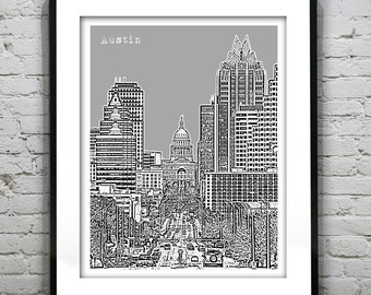Austin Texas Poster Downtown City skyline Art Print Austin Texas TX Version 1