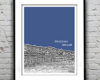 Mackinac Island Michigan Skyline Poster Art Print MI version 2