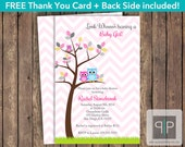 Owl Baby Shower Invitation, Printable Owl Baby Shower Invitation, Girl Owl Baby Shower Invitation, Pink Owl Theme Baby Shower Invitation