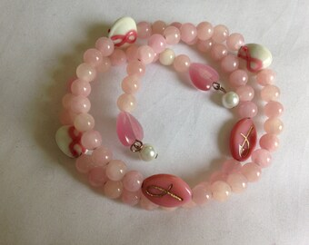 Cancer Awareness Bracelet: Memory Wire Glass Beads and Pearls
