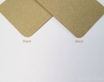 Rounded Corners Kraft Business Card, Light Brown Card Set of 100