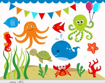 Sea animals clipart | Etsy