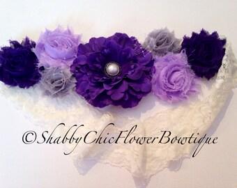 Purple Flower Belt Sash Shabby Chic Pearl Lace Maternity Girl Baby Shower Attire Photo Prop Newborn Wedding Bridal Wedding Velcro Violet