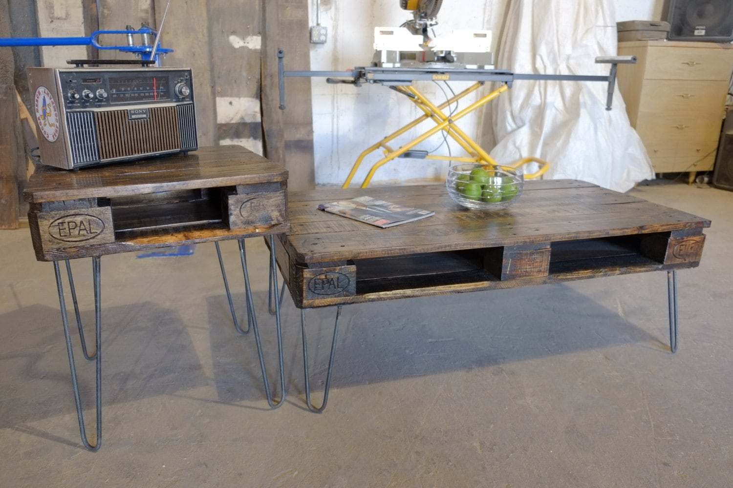 Antique pallet or skid coffee table wend tables 2 piece set antique pallet or skid coffee table wend tables 2 piece set geotapseo Gallery
