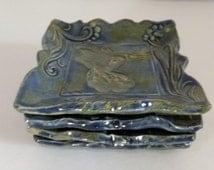 Hummingbird Plate, Spoon Rest, Ring Holder, Tapas Plate, Wild Crow Farm Pottery