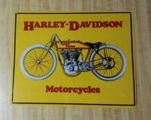 Harley Davidson Motorcycles Vintage Style Metal Sign Yellow 1920's Bike