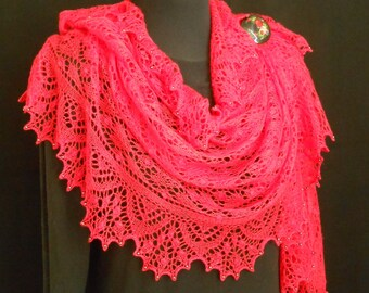 Hand knitted Lace Shawl in  Red Silk Merino.