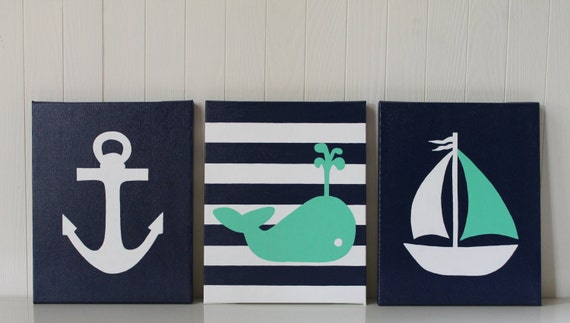 Nautical nursery decor nautical painting whale nursery navy for Anchor decoration runescape