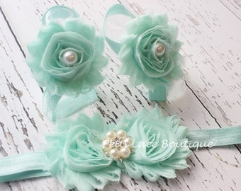 AQUA Barefoot sandals and headband set, headband and barefoot sandals for infants and toddlers.