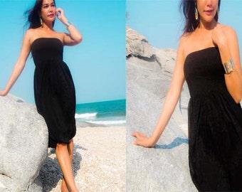 Black  silk chiffon Strapless  Beach evening short Sun dress fits S M L XL