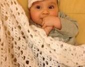 Treasury Item - Blanket /  Spring / Light & Airy / Baby / Crochet / Boy / Girl / White / Ready to Ship