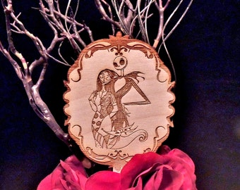 Round Wood Engraved Jack and Sally Wedding Cake Topper