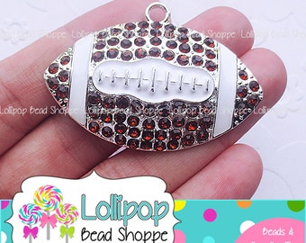 53mm FOOTBALL Pendant Rhinestone Brown White Sports Bubblegum Beads Chunky Necklace Pendant Team Crystal Bling Bubble Gum Beads RP80