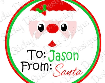 PERSONALIZED STICKERS - Custom Christmas Santa Gift Tag Labels- Round Gloss Labels - Great for Christmas Presents