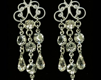 Bridal Earrings with Bohemian Crystal - Aria Sparkly Earrings - Wedding Earrings - Long Earrings with Bohemian Crystal - Teardrop Earrings