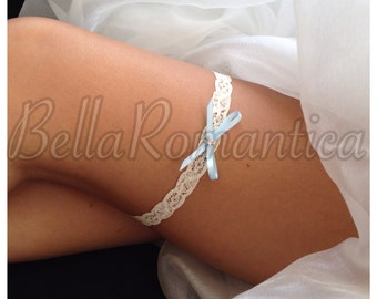 Something Blue #008 - Wedding Garter - Something Blue Garter - Ivory Bridal Garter - White Garter - Tiny Garter - Slim Garter