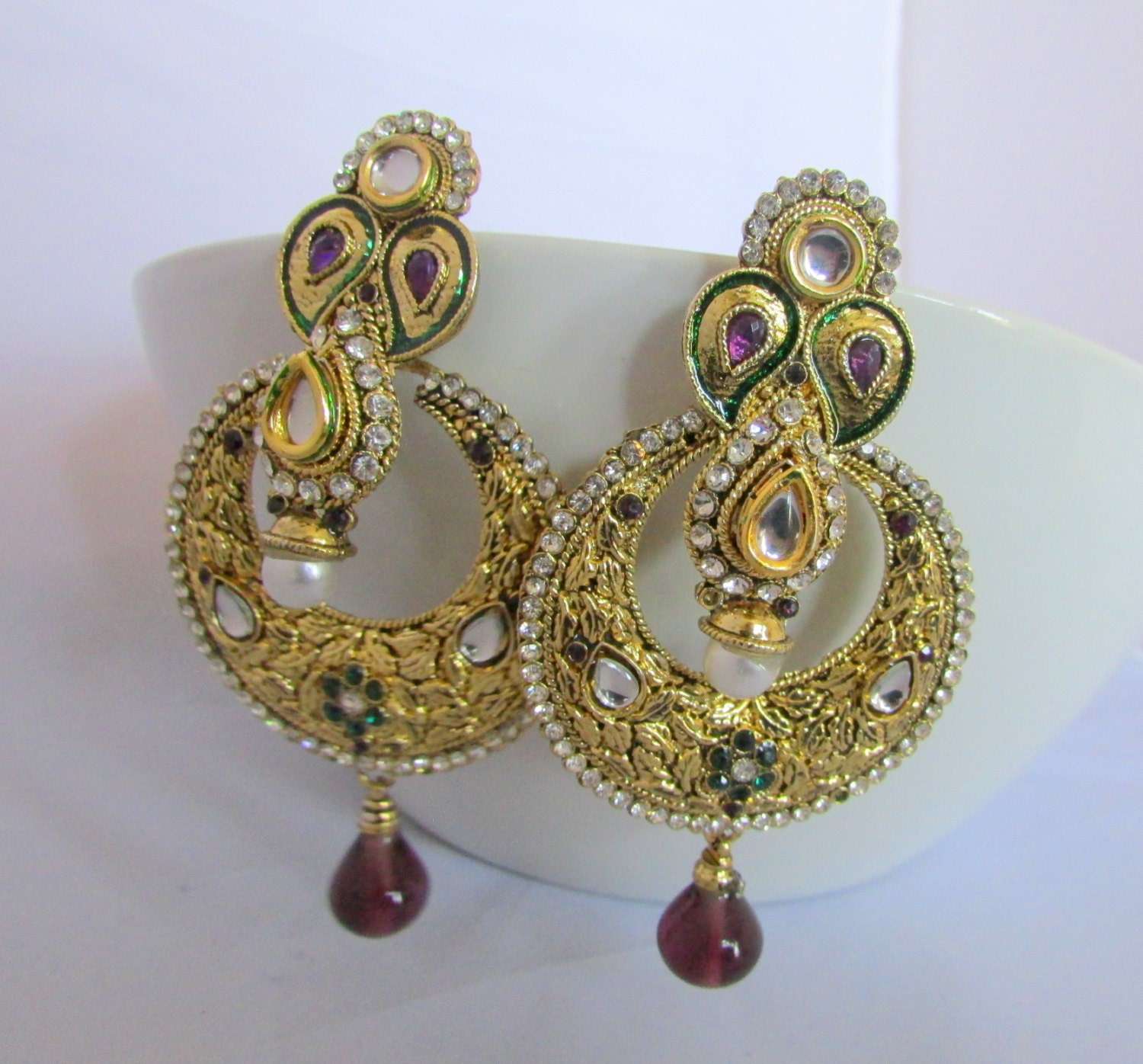 Red Chandelier Earrings: Red And Gold Jhumka Chandelier Earrings Indian Dangle