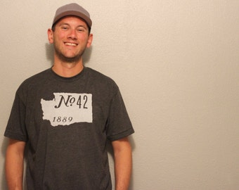 Washington- No.42, 1889 shirt; heather black; american apparel 50 50 unisex/men's t shirt