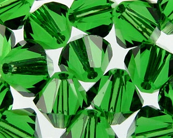 20 Swarovski Crystal Beads 6mm bicone 5328 dark moss green transparent