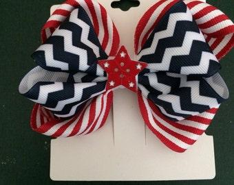"5"" Patriotic Hair Bow"