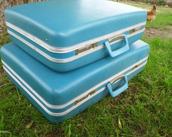 Suitcase, Luggage Set, Vintage Suitcase, Old Suitcase, Suitcases Luggage Sets,Suitcase Set,Hard Suitcase, JCPenney, Turquoise, Blue Suitcase