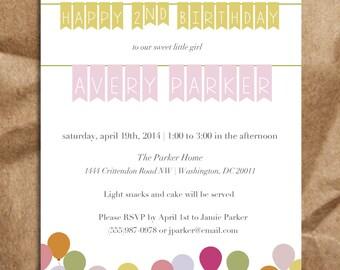 Girl's 2nd Birthday Invitation