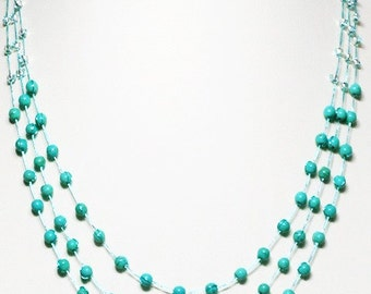 Turquoise Bead Multi Strand Necklace by Silk Thread