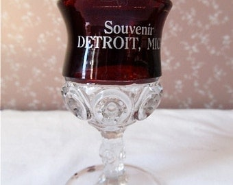 Souvenir Ruby Flash Wine Goblet  Detroit, MI