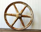 Cast Iron Wagon Cart Wheel - Distressed Rustic Chic - Vintage Farmhouse