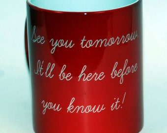 2 Custom engraved mugs, personalized mugs,