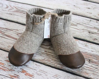 "Childrens slippers size US 1-2 shoe - Big Kids - Felted Wool Shoes ""Sable Island""  Upcycled - ready to ship"