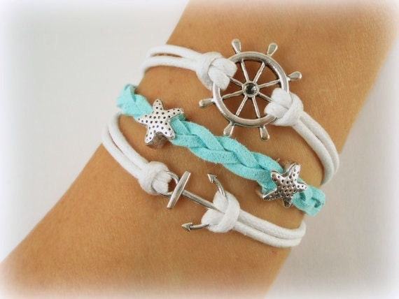 Nautical Bracelet Anchor Ships Wheel Starfish Turquoise Suede - Metta Jewelry