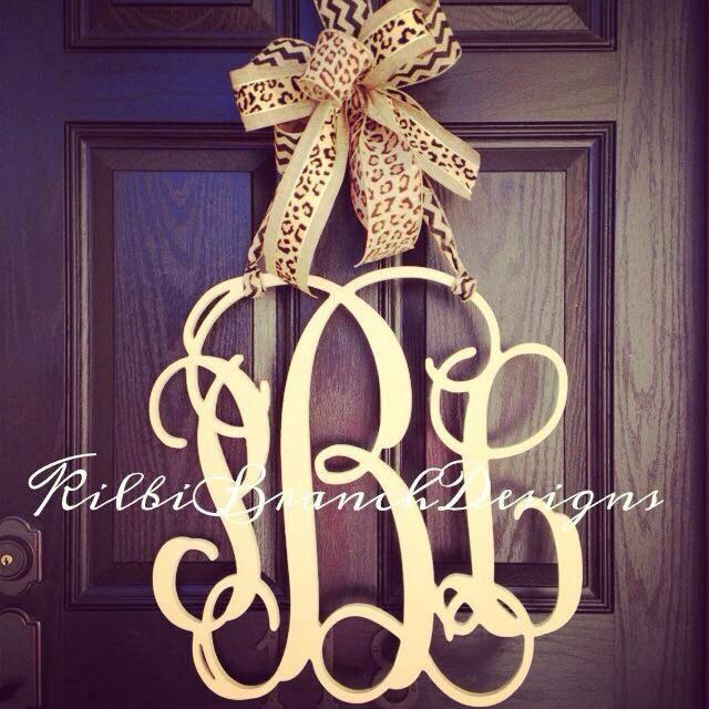 Front Door Monogram Letters Monogrammed Metal Wreath
